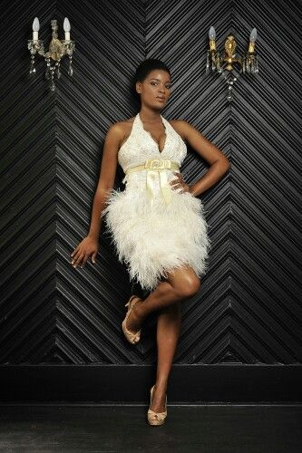 Ivory ostrich feather cocktail dress- ZARTH