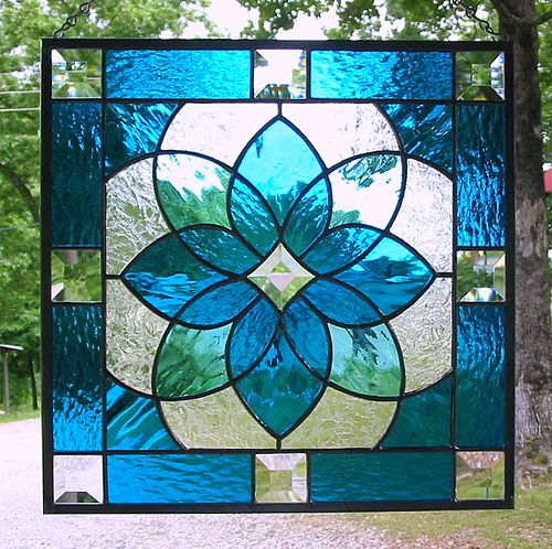 Aqua blue geometric stained glass panel | by livingglassart home of oddballs and oddities