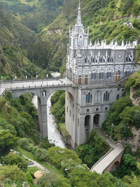 Sanctuario De Las Lajas Colombia.    It's a very famous Cathedral, South of Colombia, not a Castle