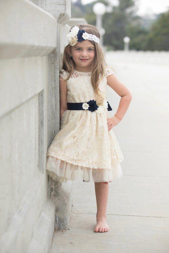 fcc0b73aa38 Navy Blue Flower Girl Dress