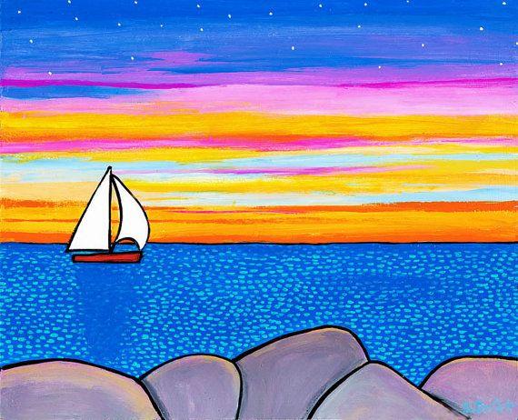 Sunset Sailboat, Giclee Print, Nova Scotia
