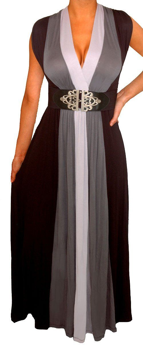 WP9 FUNFASH WOMENS SLIMMING BLACK HEATHER GRAY LONG MAXI DRESS Size Large 9 11