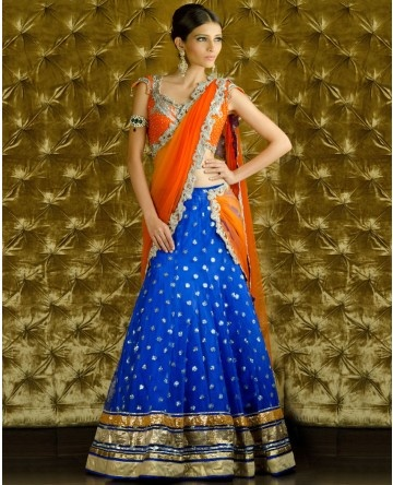 Sequined Orange and Ultramarine Lengha Choli with Dupatta- Kisneel by Pam Mehta 2012 #indianwedding, #shaadibazaar