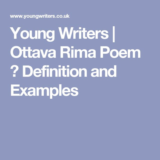 Young Writers | Ottava Rima Poem � Definition and Examples