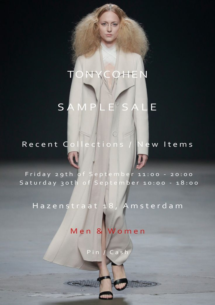 TONYCOHEN Sample Sale  -- Amsterdam -- 29/09-30/09