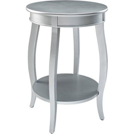 Round Side Table with Shelf, Multiple Colors, Silver