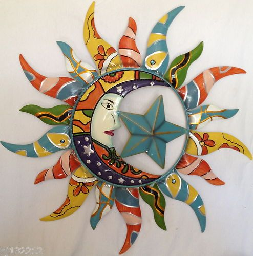 Liven Your Walls Paintings Tierra Este: Colorfully Painted Moon Star & Sun Celestial Decorative