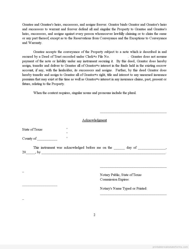 Printable deed subject to template 2015