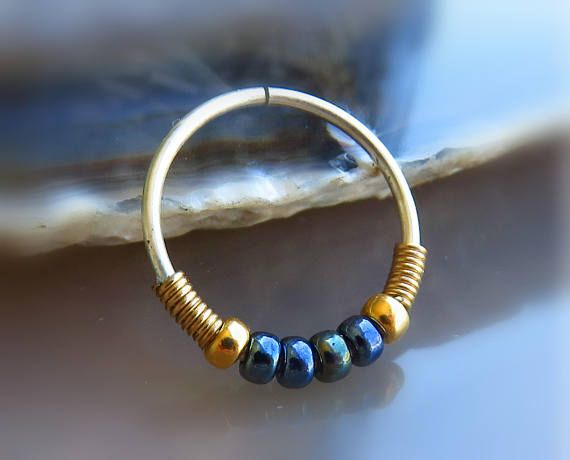 black nose ring // beaded nose jewelry // nose hoop 20g