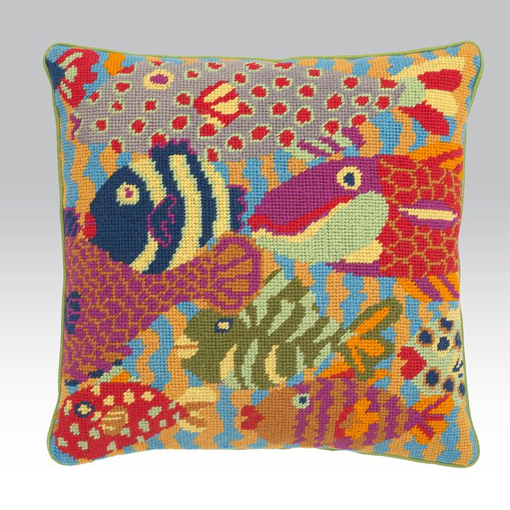 "Brandon's GONE FISHING 19.5"" needlepoint cushion kit design"