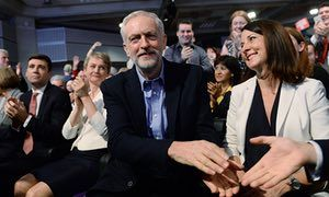 Jeremy Corbyn with Yvette Cooper (left) and Liz Kendall (right).