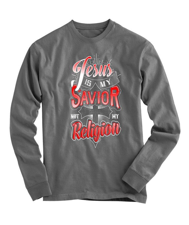 Urbanteesstore JESUS Is My Savior Design 2 Christian Long Sleeve Graphic T Shirts