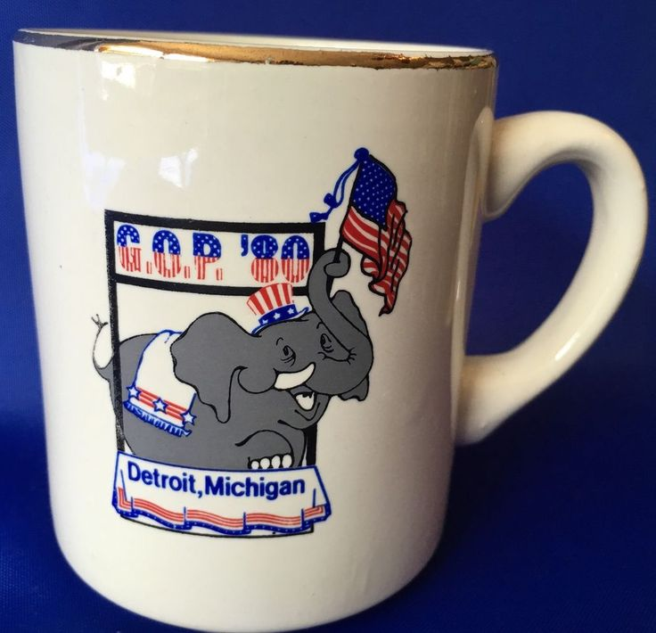Vintage 1980 GOP Mug Detroit Michigan Republican Elephant Flap Grand Old  Party #Unknown