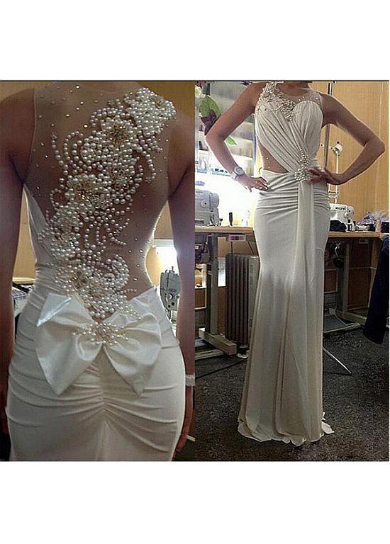 Buy discount Graceful Spandex & Tulle Jewel Neckline Beaded Mermaid Wedding Dress at Dressilyme.com