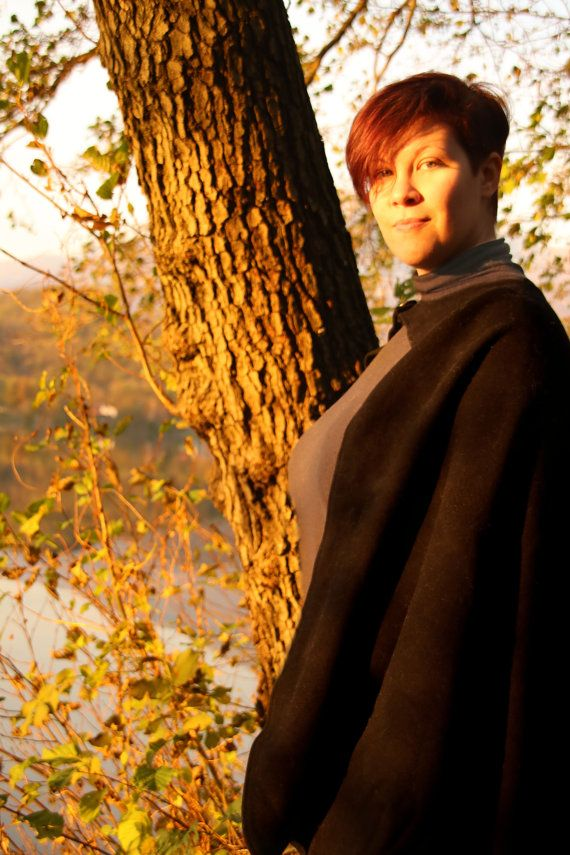 READY TO SHIP  Black cloak wool viking cape by RavenThreadsLab