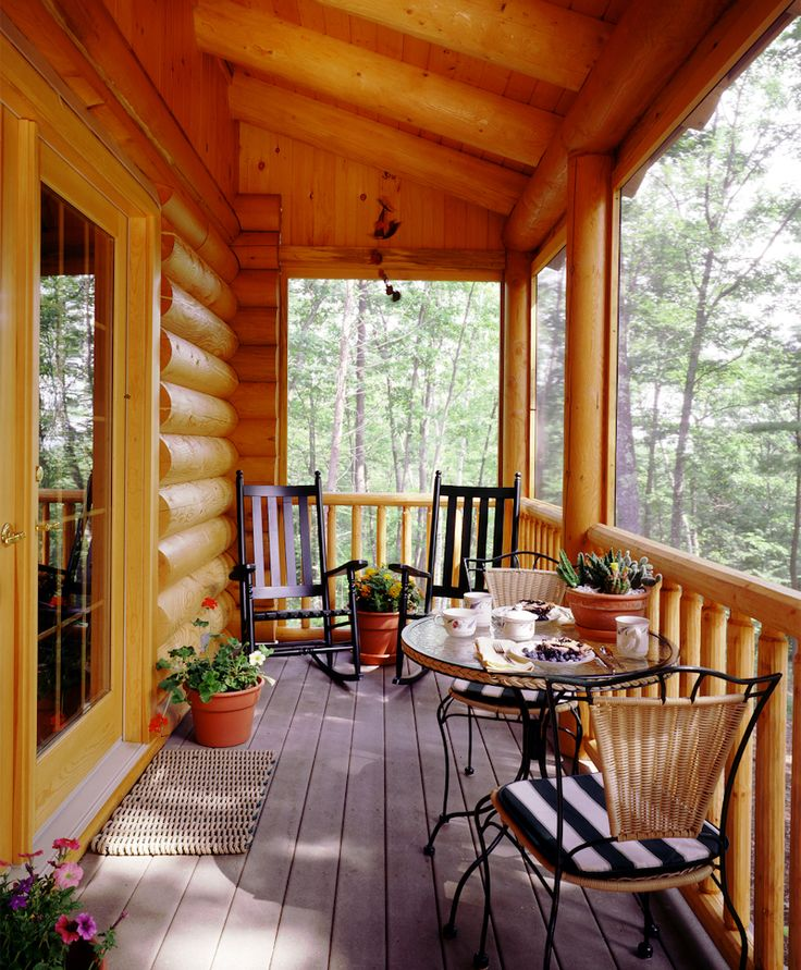 Log Home Screened Porch Round Posts Google Search