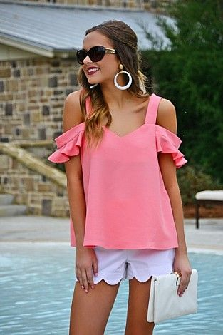 Nina Cold Shoulder, Pink :: Tops :: The Blue Door Boutique