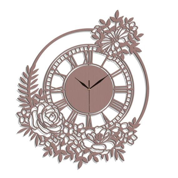 Stylish Ornamental Wall Clock Flowers Wooden Clock Wall Art Etsy Saatler Duvar Saatleri Ahsap Isciligi