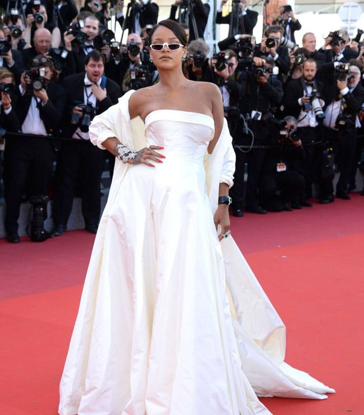 Rihanna 2017 white formal gown dress on red carpet