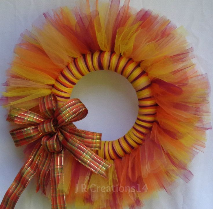 Fall Tulle Wreath, Seasonal Decor, Fall Plaid Bow, Orange Yellow Cranberry Coral Tulle, 19 inch Wreath, Behind Storm Door, Foam Wreath Form by JRCreations14 on Etsy