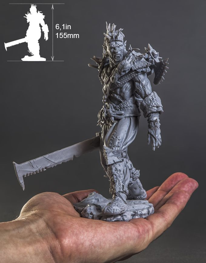 This is an actual 3D print model of the Orc Raider. Every bit of surface is packed with fine detail.