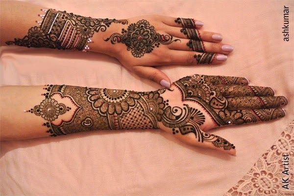 Fancy Beautiful Bridal Henna Mehndi Designs 2015 for Full Hands Wedding Eid Party