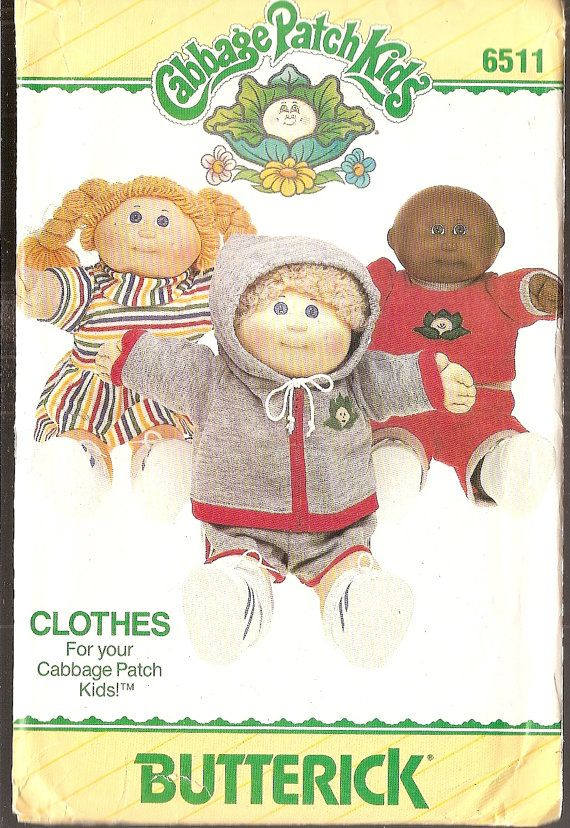 Free Printable Doll Clothes Patterns | Vintage Cabbage Patch 16 inch Doll Clothes Sewing Pattern Butterick ...