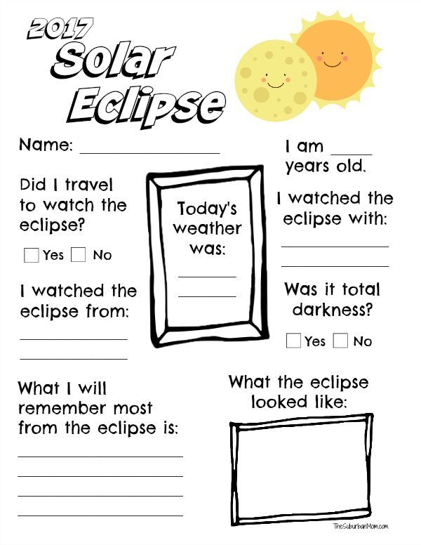 Commemorate the solar eclipse with a free printable 2017 solar eclipse worksheet for kids.
