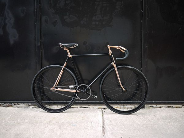 Madison Street by Detroit Bicycle Company - You're looking at the Rolls Royce of fixies, a copper-plated custom that is proudly made in Detroit.  The Madison Street by Detroit Bicycle Company is a hand made, high component bicycle designed for urban enjoyment.  Its fork, stem, seatpost and seatstays are plated with fine, shiny copper, yielding a visual appeal that few bikes can boast.  It's the kind of commuter for those with class, one you won't mind hanging on your wall between rides.