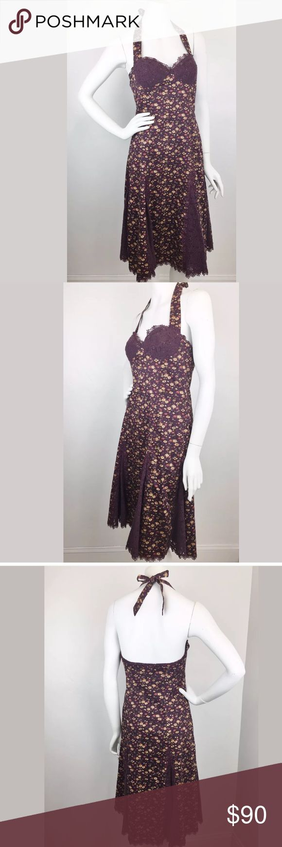 "Betsey Johnson Vintage 90's Floral Halter Dress Condition: Excellent; like new Fully lined Invisible side zip  Approximate measurements taken flat: Bust (underarm to underarm): 16"" Waist: 14.5"" Length (top of bodice to hem): 34"" Betsey Johnson Dresses Midi"