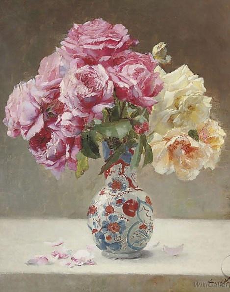 Emile Vernon Roses in an Oriental vase - Emile Vernon