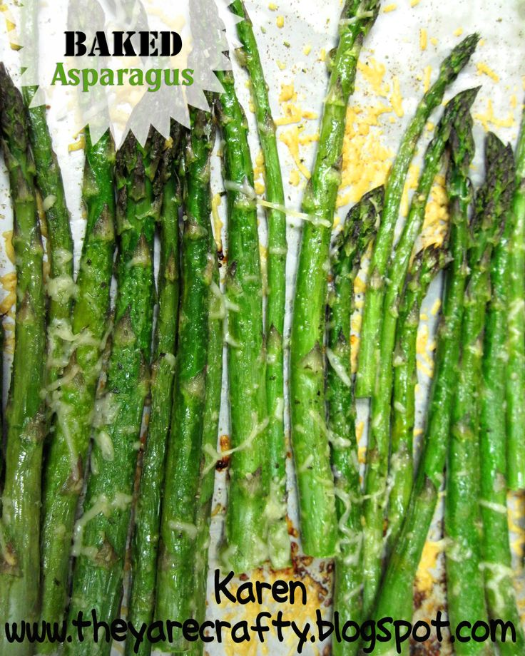 Oven Baked Asparagus- This is one of our FAVORITES!!! Nice and tender not too mushy! And easy! Click here for recipe http://www.myrecipemagic.com/recipe/recipedetail/oven-baked-asparagus