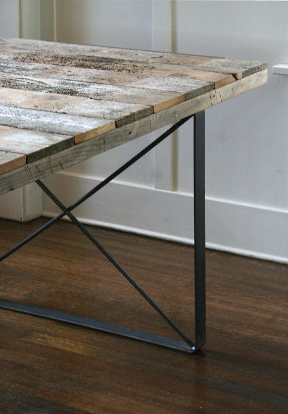 work desk from reclaimed wood with recycled-content x-brace steel legs, no drawers - island barn modern industrial
