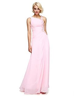 Ball Gown Notched Floor Length Chiffon Bridesmaid Dress with Beading Flower(s) by LAN TING BRIDE® – EUR € 239.70