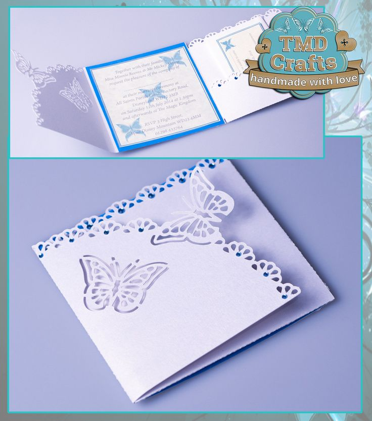 Butterfly Wedding Invitations & RSVP Cards Two tone effect can be done to match your chosen wedding colour scheme Please contact via email - tmd-crafts@virginmedia.com to discuss your colour scheme & requirements for a quote www.facebook.com/tmd-crafts #handmade #crafting #CraftersCavern #PCG #Invitations #Weddings