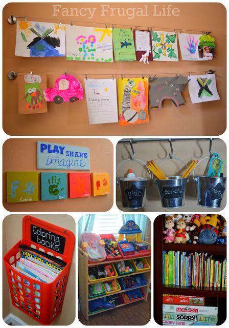 Organizing the play room. Cute ideas.