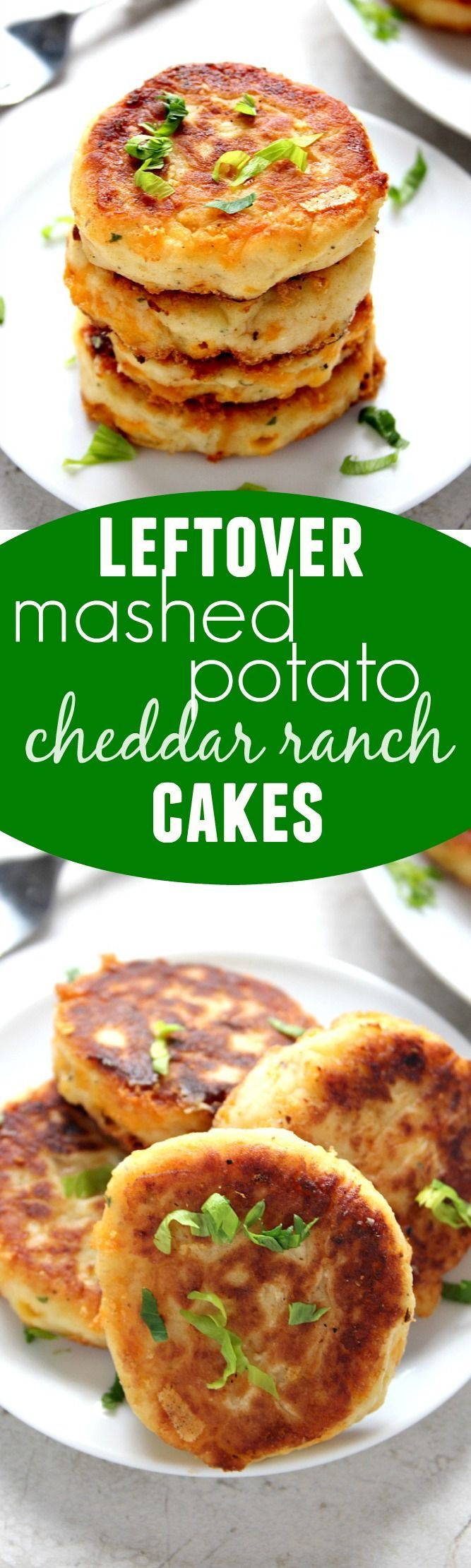 Leftover Mashed Potato Cheddar Ranch Cakes  ~ The best use for your leftover mashed potatoes! Crispy cakes filled with cheese and ranch seasoning. Just 5 ingredients and 20 minutes is all you need to make them! Perfect for a snack, side, or appetizer!
