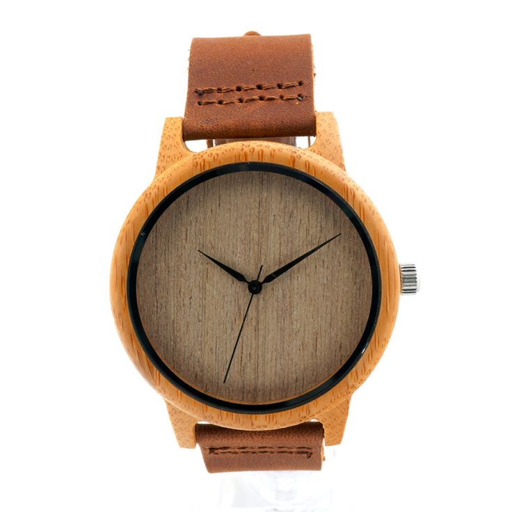 Bamboo Wooden Watch With Genuine Cowhide Leather Band