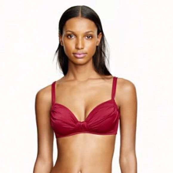 """J Crew Ruched French Bikini Top Color is red currant. Reposh. This is too big on me. Ruching at bust. Back hook. Nylon/spandex. Seamed under bust for support. Lightly padded. Lined. Measures 17"""" in the back when flat. J. Crew Jackets & Coats"""