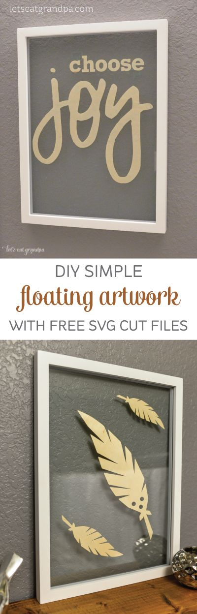 Make some simple floating artwork using your Cricut Explore! Get free SVG cut files, too!