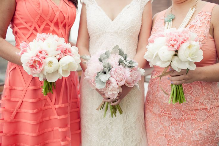 Bride and Bridesmaid Bouquets Peonies, French Tulips and Dusty Miller Flowers: gabriellearonas.com Photography: isabelleselbyphotography.com