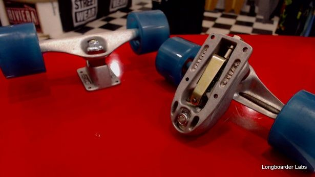 Quick Look Inside the Carver C7 Trucks, The Front truck has a secondary axle and huge spring, which gives it that ultimate Carver feeling on Longboarder Labs Vancouver's Sharkiest Longboard Skateshop  http://www.longboarderlabs.com/social-gallery/quick-look-inside-the-carver-c7-trucks