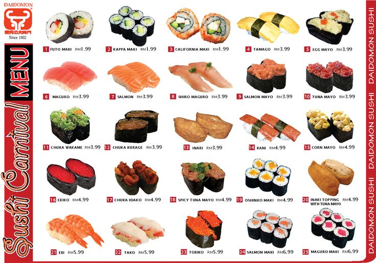 Sushi menu with pictures 2nd grade 2014 pinterest for Akina japanese cuisine menu