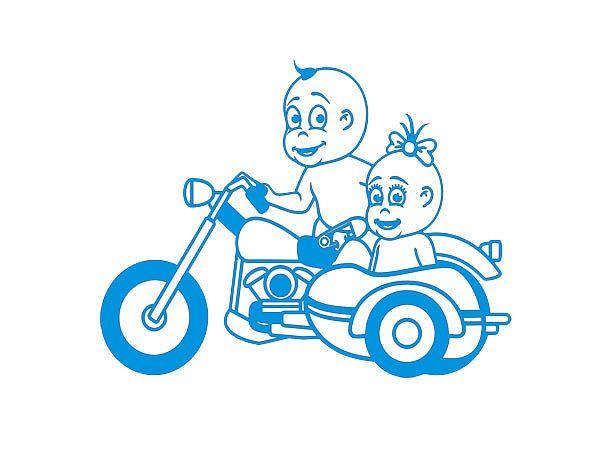 Aufkleber Mädchen u. Junge auf Motorrad auch mit eigenem Text - Größe: A3 od. A4 - Hausnummern und Schilder online kaufen