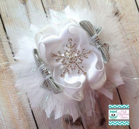 OTT Winter Wonderland Stacked Boutique Bow by poshbowtiquebows, $10.00