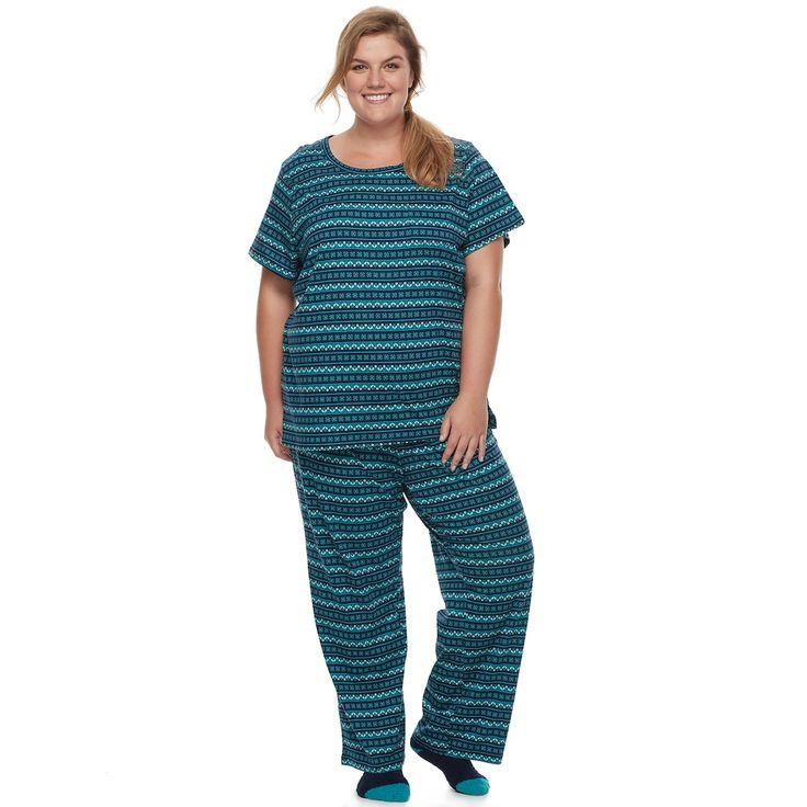 Plus Size Croft & Barrow® Pajamas: Short Sleeve Top, Pants & Socks 3-Piece PJ Set, Women's, Size: 2XL, Blue (Navy)