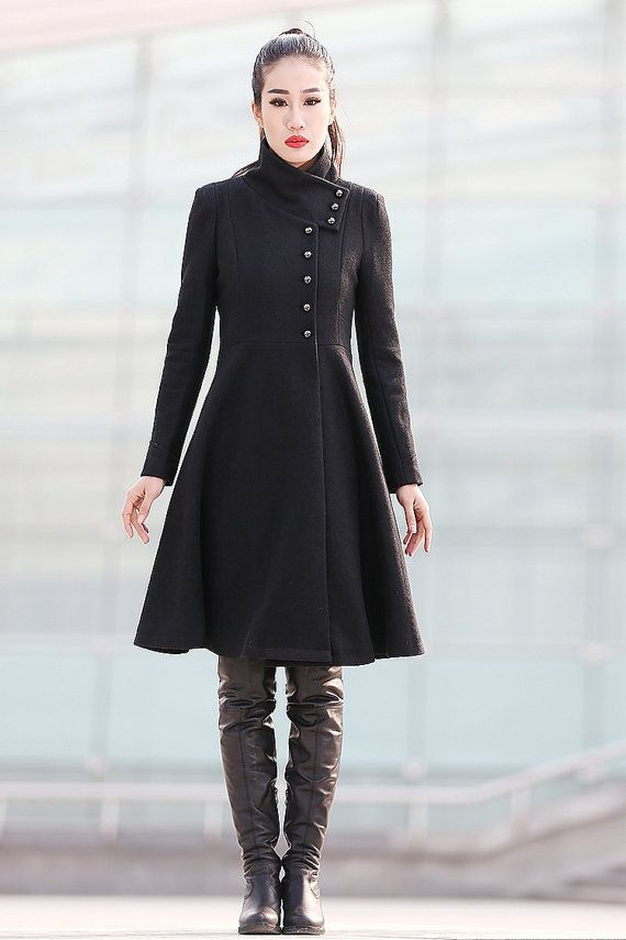 Black Coat Big Sweep High Collar Women Wool Winter Coat Long Jacket-CF123 on Etsy, $169.99