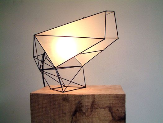 From Jeroen Molenaar, a cantilevered, small light object made out of steel wire and Acrylic