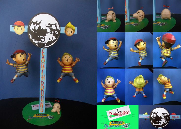 Ness, Lucas and Mr Saturn Earthbound papercraft by Sabi96