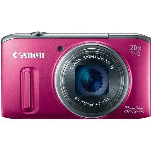 Canon PowerShot SX260 HS 12.1 MP CMOS Digital Camera with 20x Image Stabilized Zoom 25mm Wide-Angle Optical Lens and 1080p HD Video (Red) by Canon, http://www.amazon.com/dp/B0075SUK6O/ref=cm_sw_r_pi_dp_pgrwrb081YMYG